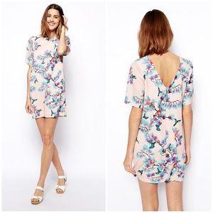 NEW ASOS Digital Bird Print Dress Pink Floral Sz 6